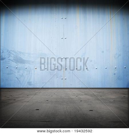 Grungy blue steel door