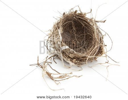 Urban bird nest isolated on white.