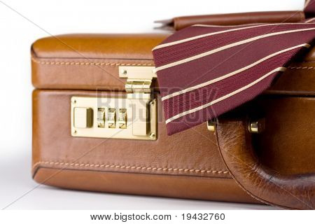 Leather brief case and neck tie