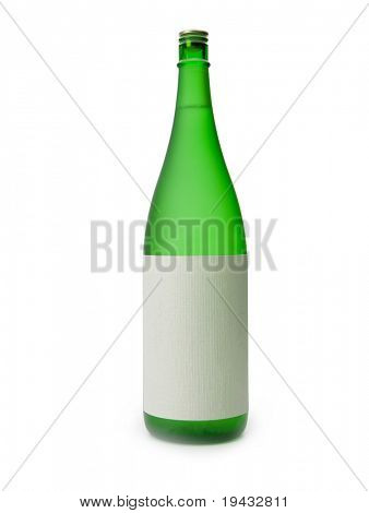 A Sake bottle with blank label, isolated on white.