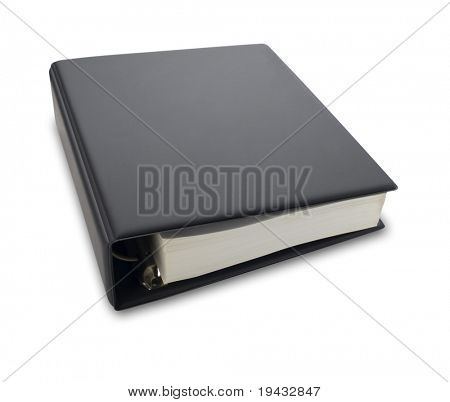 Blank black binder isolated on white