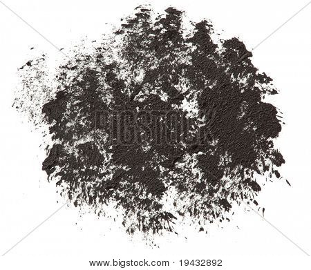 High magnification tapping motion brush stroke texture. isolated on white.