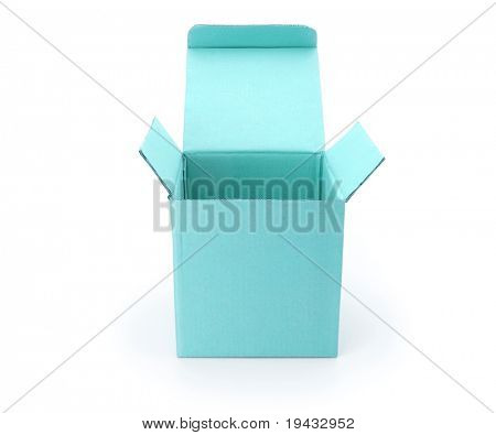 blue box with lid open isolated on white