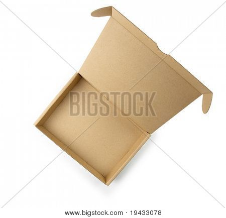 Cardboard box with lid open shot from above. Type of box often used for computer hardware related items.