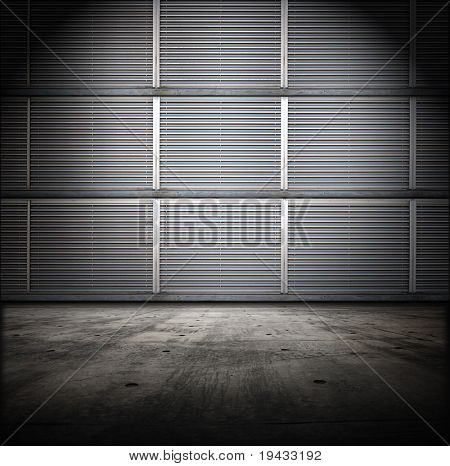 Grungy room with metal siding wall