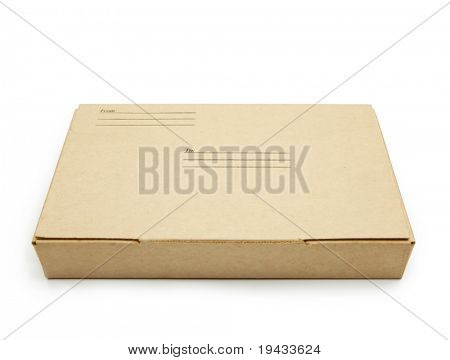 Small packet of brown card board box with address and sender space.�isolated on white.