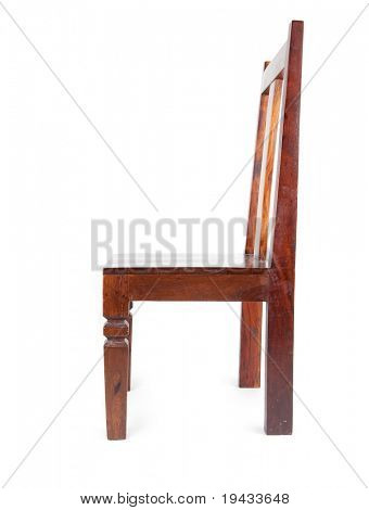 Rosewood chair shot from the side , isolated on white. Also known as sheesham wood.