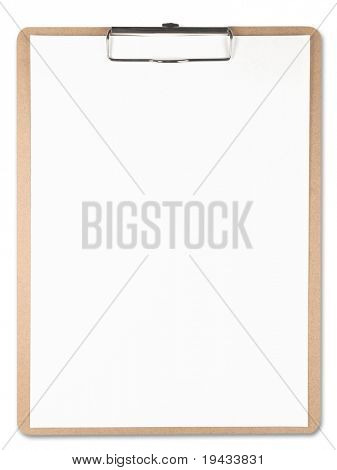 Vertical clipboard with white paper. Isolated on white.