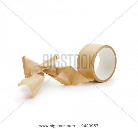 Tangled up packing tape. Irreversible phenomenon.