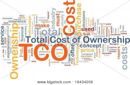 Background concept wordcloud illustration of total cost of ownership