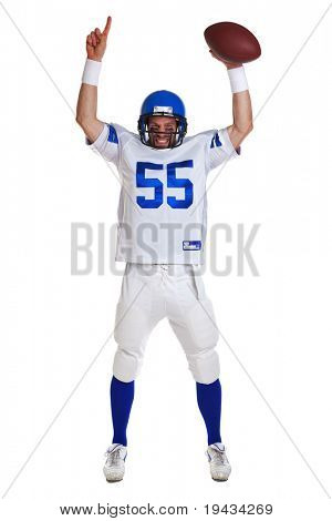 Photo of an American football player, cut out on a white background.