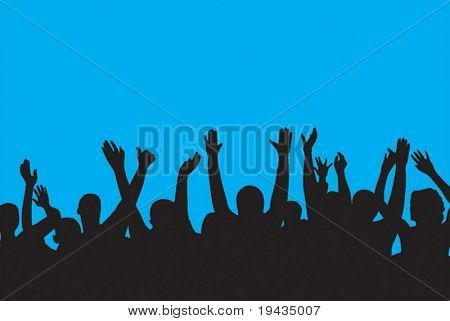 crowd with raised hands