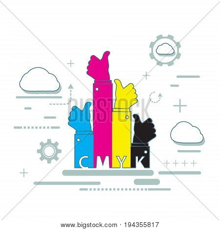 Paint CMYK for inkjet printer. Color pigments for the printing industry. Stock vector illustration.