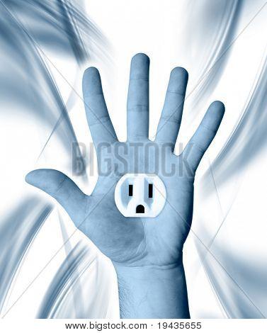 de la mano con la toma de corriente eléctrica