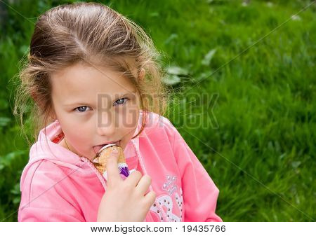 little girl eating icecream