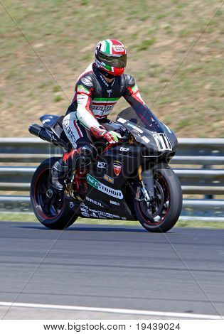 HUNGARORING, HUNGARY - JUNE 19: An unidentified rider participates during ROSBK event at Hungaroring Race Track on June 19,  2009 in Hungaroring, Hungary.