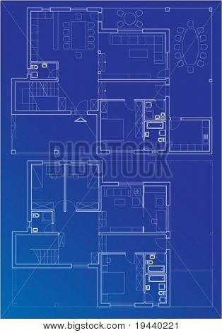 blueprint vector plan of home