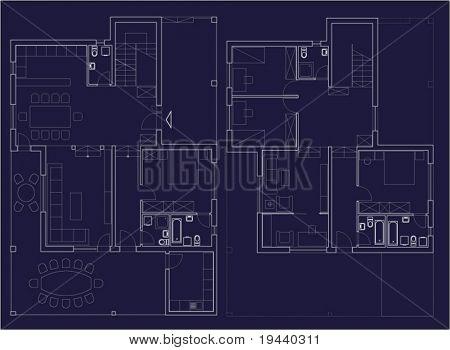 detail home plan architectural vector white on dark blue