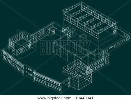 technical 3D draw of building on green, easy to change color of lines or background