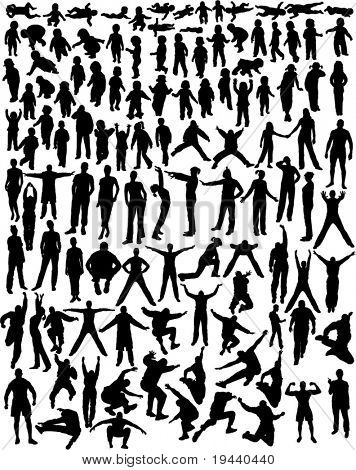 over hundred very detailed silhouettes of baby, kids, girl, boy, woman and man moving, standing, doing everything....