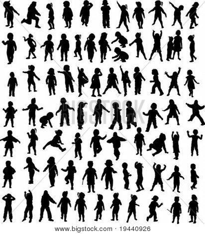 new set of children silhouette - vector