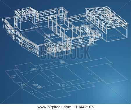 Blueprint plan of school building in third view and basic