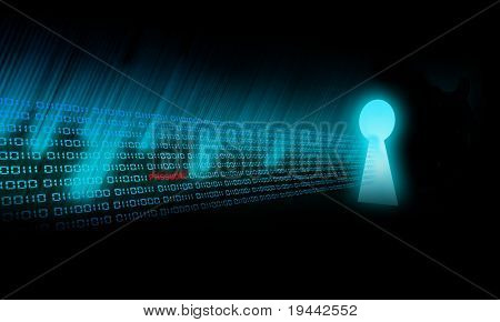 Código binario va a un ojo de la cerradura