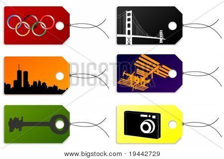 Tags + etiquetas com foto, ISS, Spacestation, New York, chave, ponte, logotipo de Jogos Olímpicos.