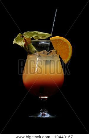 tequila sunrise isolated on black