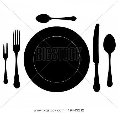 comer lugar popular, cuchillo y cuchara