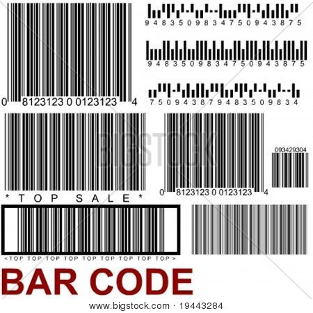 a lot of types of random barcodes in vector design