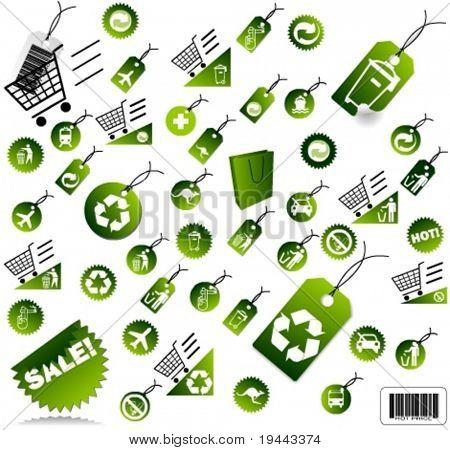 Set of green environmental icons, vector art