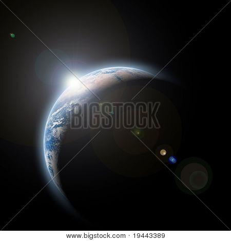 planeta terra com para o nascer no espaço