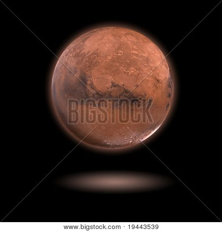 Mars Model With Black Background And Shadow