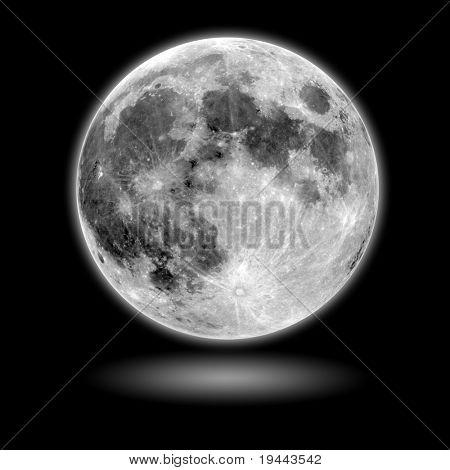 Lua modelo com fundo preto e sombra