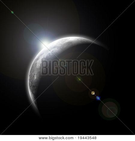 com o nascer da lua no espaço