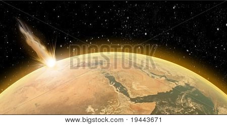 Asteroid crash on Planet Earth