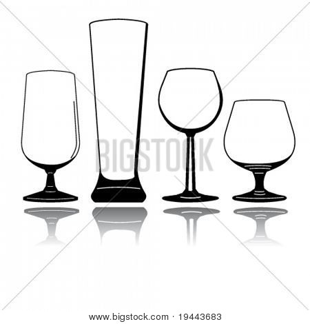 Set of vector silhouette glasses