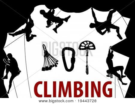 Climbing People silhouettes in vector art