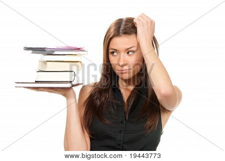 Student Hold Books, Textbooks, Notebook, Homework Study Assignment
