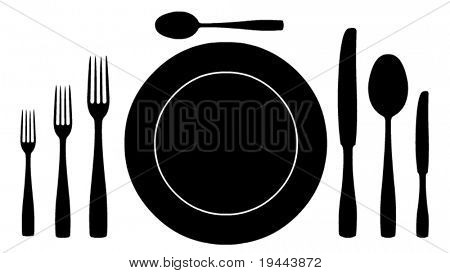 complete set of silverware for dinner in vector design