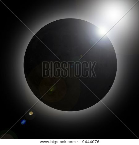 Sun eclipse with real moon texture