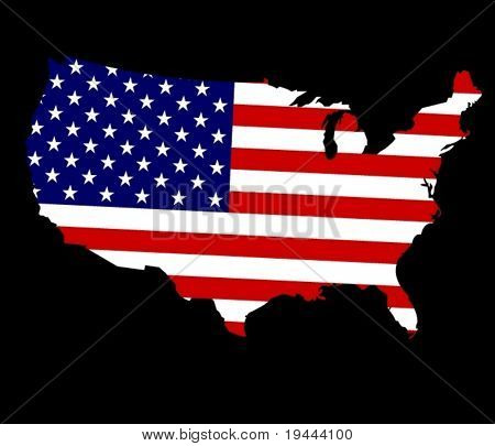 Map of USA on flag in vector art