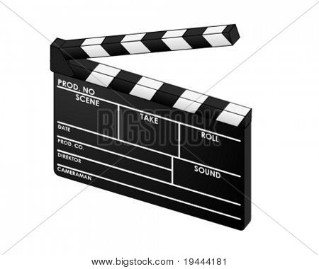3D digital clapperboard in vector art