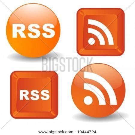 Símbolos de RSS en estilo 3D y vector