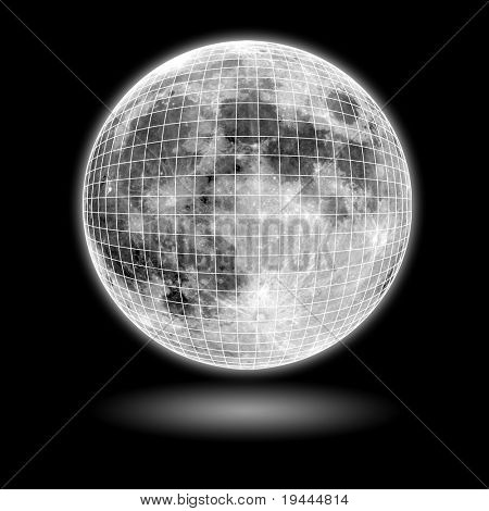 moon Model with black background and shadow and mesh