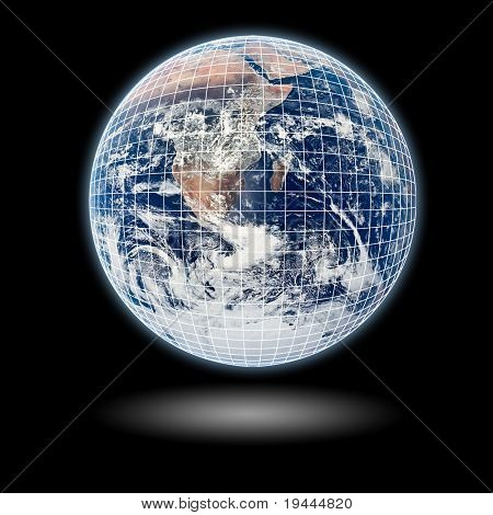 Earth Model with black background and shadow and mesh