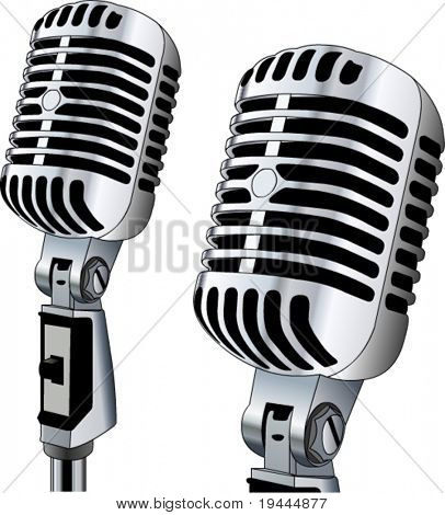 Retro Microphone in editable vector design