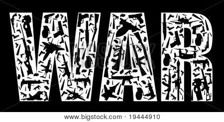 Slogan de guerra construir com armas em arte vetorial