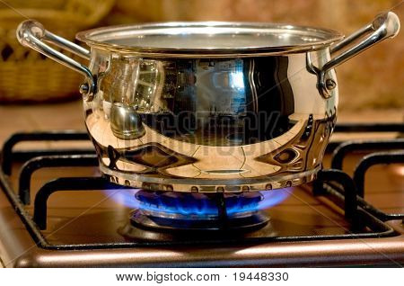 Saucepan on a gas torch